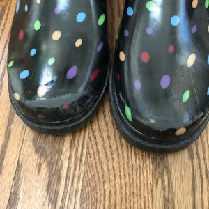 Merona Shoes - Merona Black Polka Dot Rain Boots - size 10